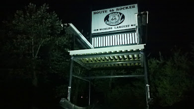 """Photo: August 6-The first """"World's Largest"""" on my trip happened that very night when I sought out the World's Largest Rocking Chair in Fanning, MO."""