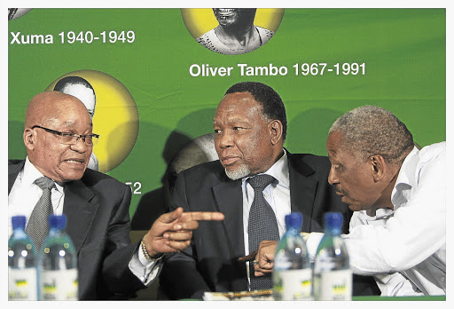SHAM SHOW OF UNITY: President Jacob Zuma, Deputy President Kgalema Motlanthe and treasurer-general Mathews Phosa at the ANC press conference in Luthuli House Picture: ELIZABETH SEJAKE