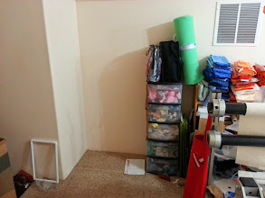 Photo: This is the corner where I'm going to setup the new sewing station.  I'm not sure where I'll find room for these scraps or the bookcase full of fabric.