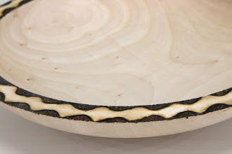 "Photo: Tim Aley  [8 1/2"" x 1 3/4""] bowl [maple, pyrography] - detail"