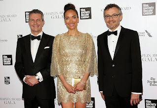 """Photo: Jaeger-LeCoultre CEO Daniel Riedo, Carmen Chaplin and Communication Director Laurent Vinay attending the 41st Annual Chaplin Award .  Prior to the Chaplin Award Gala, a unique photographic exhibition """"Chaplin Forever!"""", retracing the most famous moments of the beloved actor and producer's career  was inaugurated at the Film Society of Lincoln Center.  Read more at: http://bit.ly/1k90nlv"""
