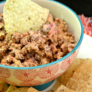 Creamy Rotel and Sausage Chip Dip.