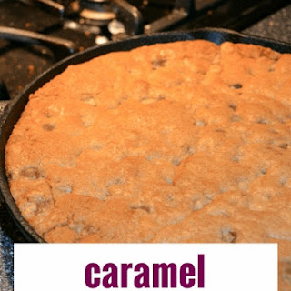 Caramel Chocolate Chip Skillet Cookie