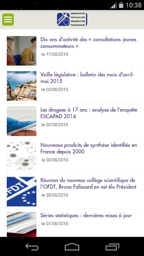 Actu OFDT- screenshot
