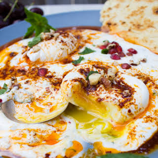 Turkish Poached Eggs Over Yogurt Breakfast.