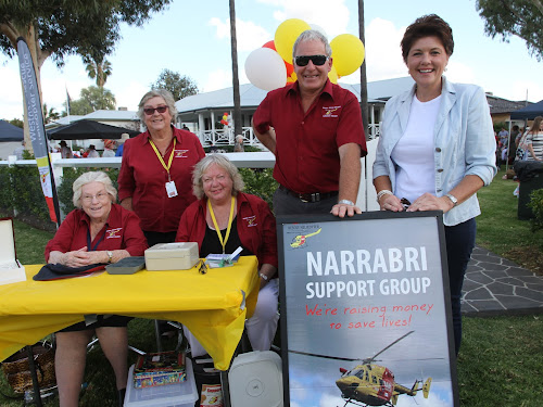Some members of the Westpac Rescue Helicopter support committee, back, Eletha Bailey, Allan Goode, front, Ann Connole and Di Harris with hostess JocellinJansson on right.