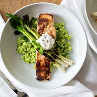 Tzatziki Marinated Salmon with Edamame Mint Mash and Charred Scallion