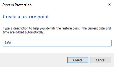 The Create a Restore Point dialog box