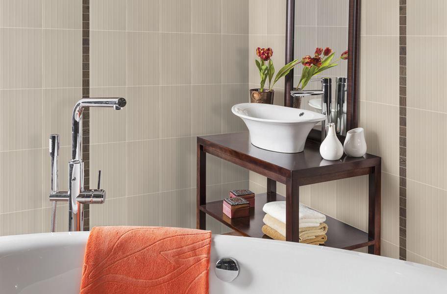 beige porcelain wall tile in bathroom