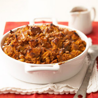 Pumpkin Bread Pudding with Toffee Sauce.