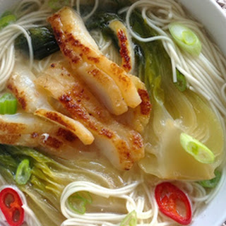 Mellow White Miso Soup with Cod, Baby Bok Choy, Sriracha and Lime.