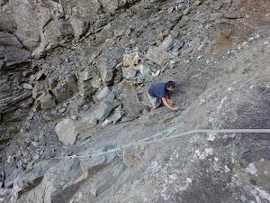 Scrambling up the gully