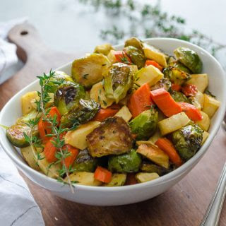 Maple Thyme Roasted Brussels Sprouts, Carrots, and Parsnips.