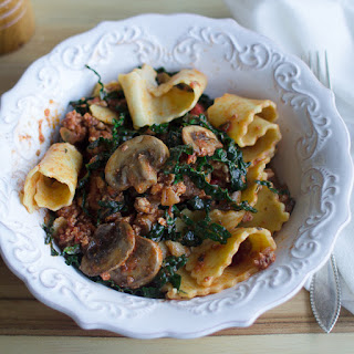 Paleo Reginette Pasta with Kale & Mushrooms