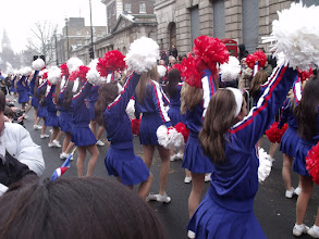 Photo: These cheerleaders came along several times, but never stopped facing me.