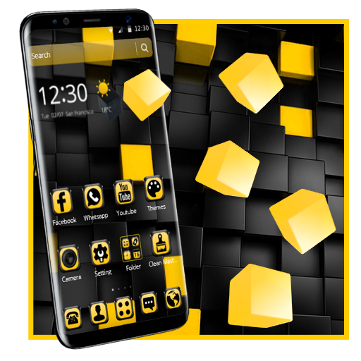 Yellow Black Cube Theme file APK Free for PC, smart TV Download