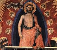 Niccolò di Segna,Polittico della Resurrezione (dettaglio del Cristo in una grande mandorla blu)