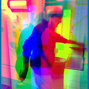 Rainbow Man by Pam Blackstone - Digital Art People ( harris camera, polychrome, man walking, rainbow colours, man )