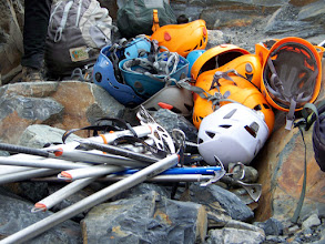 Photo: Gearing up in crampons and body harnesses, plus an ice ax and a helmet
