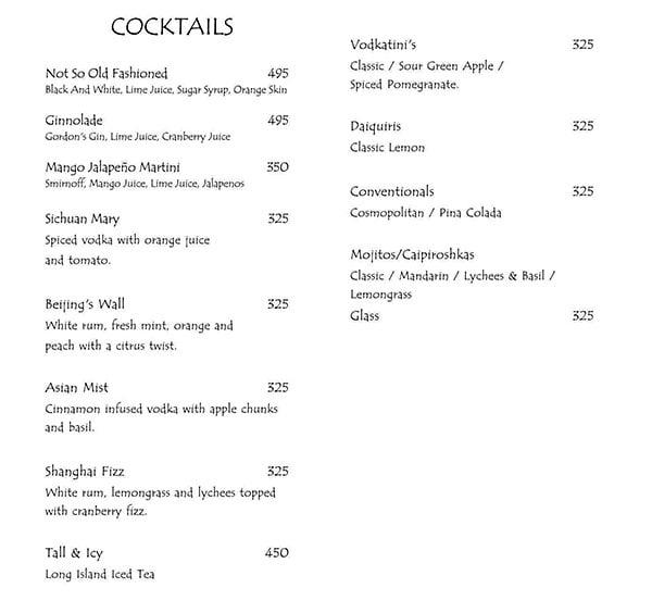 Mainland China menu 4