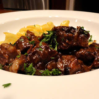 Beer Braised Beef with Onions.