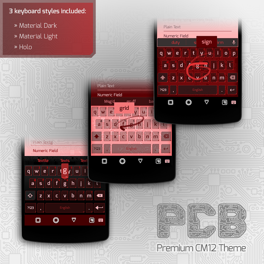 PCB Red ⁞ CM13 Theme- screenshot