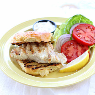Healthy Grilled Grouper Sandwich with a Tartar Sauce.