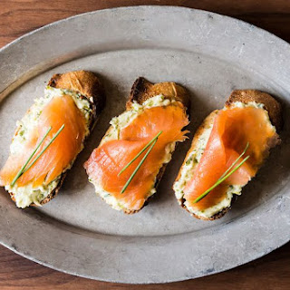 Smoked Salmon on Mustard-Chive and Dill Butter Toasts