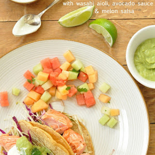 Salmon Tacos with Wasabi Aioli