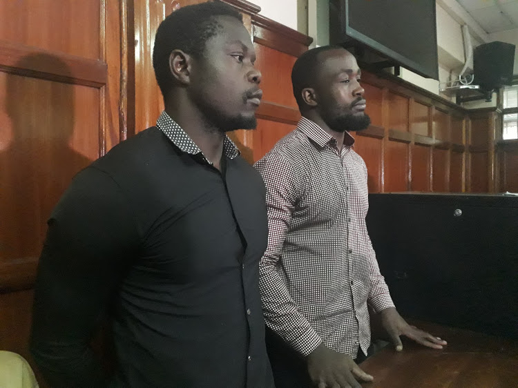 Rugby Players Alex Mahaga and Frank Wanyama during a court appearance.