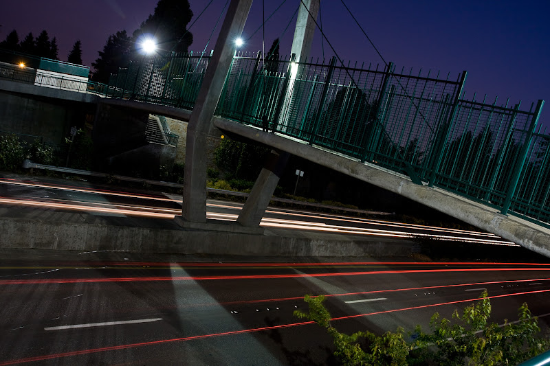 Photo: Traffic passes on Padden Parkway at the 142nd Avenue pedestrian bridge