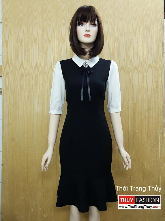 Váy công sở phố trắng đen cổ peter pan V516 tại Hải Phòng