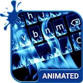 Neon Flames Animated Keyboard