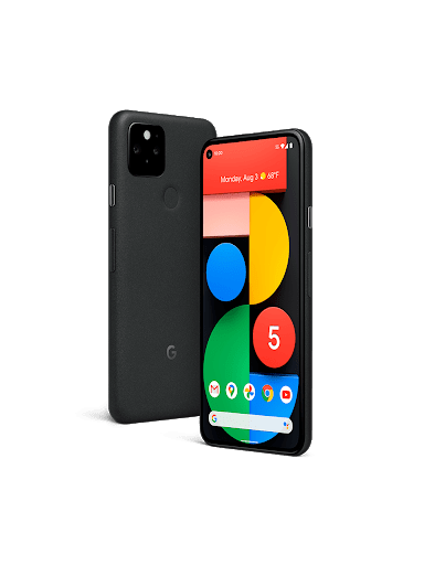 An image of the front and back sides of a Google Pixel 5 phone.
