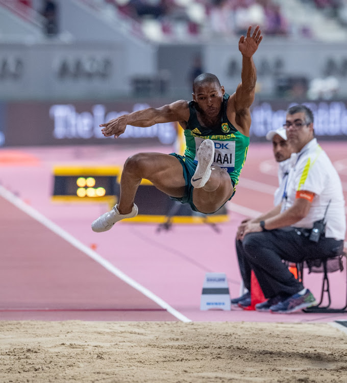 Ruswahl Samaai of South Africa in action during the Long Jump Final during day 2 of the IAAF World Athletics Championships at Khalifa International Stadium on September 28, 2019 in Doha, Qatar.
