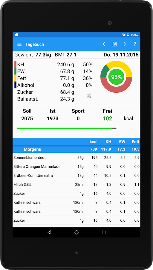 FoodLogger Lite- screenshot