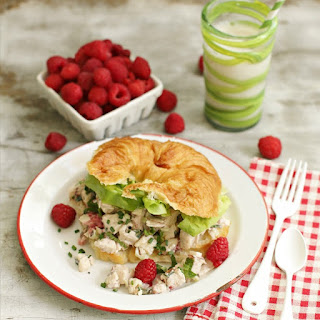 Healthy Chicken Salad Sandwich with Raspberries and Fresh Herbs