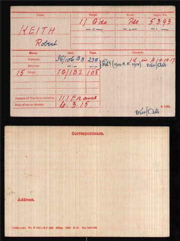Robert Keith's Medal Index Card