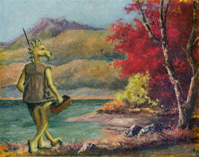 Photo: Gone Fishing.  I probably should have tried to find an image of the original work but I just faked my way through re-doing the landscape where it was too faded.