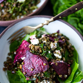 Warm Lentils with Wilted Chard, Roasted Beets and Goat Cheese Recipe
