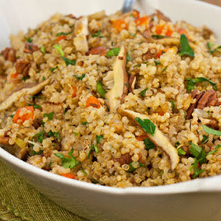 Quinoa Pilaf with Shiitake Mushrooms, Carrots & Pecans.