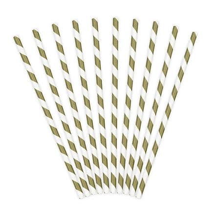 20-pack Sugrör - Guld metallic- och vitrandiga