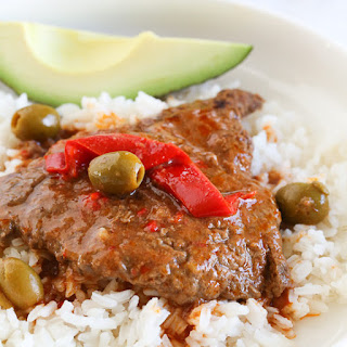 Braised Cubed Steak with Peppers and Olives Recipe (Instant Pot, Slow Cooker and Stove-Top).