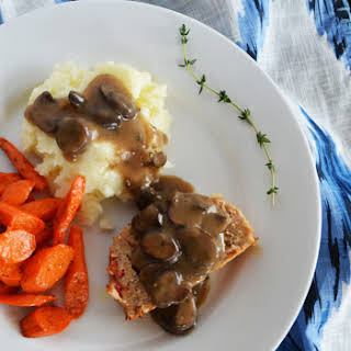 Perfect Turkey Meatloaf with Mushroom Gravy.