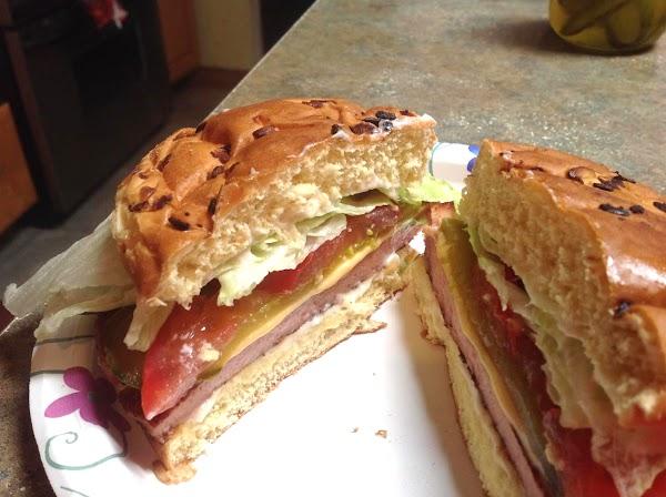 Then using a sharp knife, cut sandwich in half and enjoy.