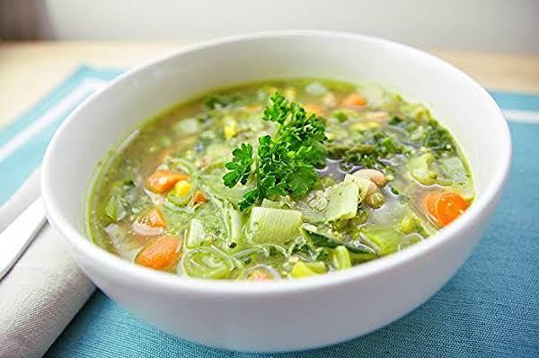 Spring Vegetable Quinoa Soup With Lemon Basil Pest