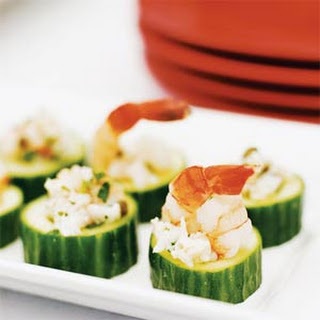 Mediterranean Shrimp Salad in Cucumber Cups.