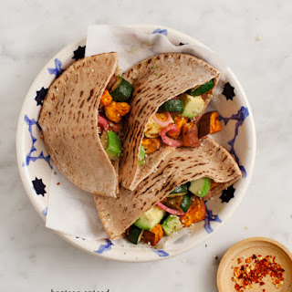 Harissa Spiced Fall Veggie Pitas