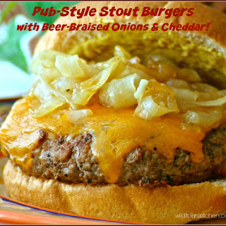 Pub-Style Stout Burgers with Beer-Braised Onions & Cheddar