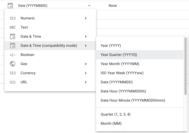 Compatibility mode dates in a data source.